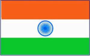ภาพธงชาติอินเดีย ซึ่งประกอบไปด้วยแถบแนวนอนสามแถบ  คือ ส้ม ขาว และเขียว โดยตรงกลางเป็นรูปกงจักร